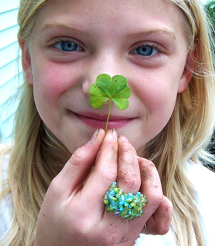 Smiling Girl with clover